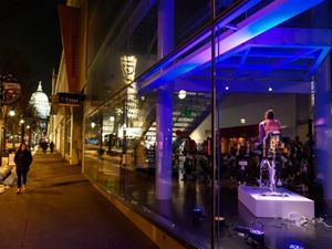 View from State Street in Madison, Wisconsin, looking into the Madison Museum of Contemporary Art's Art Velo fundraiser.