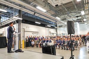 Exact Sciences chairman and CEO Kevin Conroy addresses a full house at the Nexus One Laboratory and Warehouse grand opening event on June 26, 2019.
