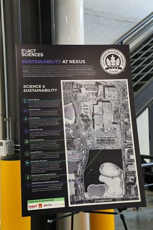A poster details the many sustainable design elements contained within the Nexus One Laboratory and Warehouse space.