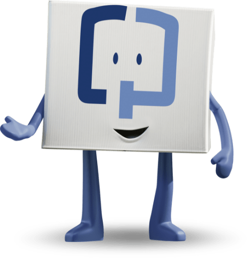 smiling Cologuard character gesturing with one hand with the other at its side