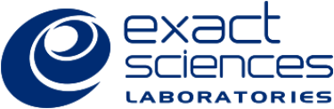blue Exact Sciences Laboratories logo in lowercase letters